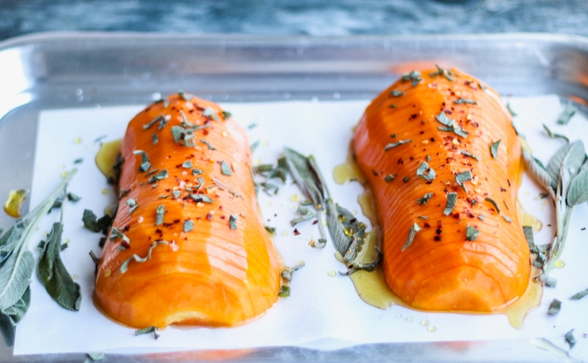 Hasselback Butternut Squash with Honey, Sage and Chilli.